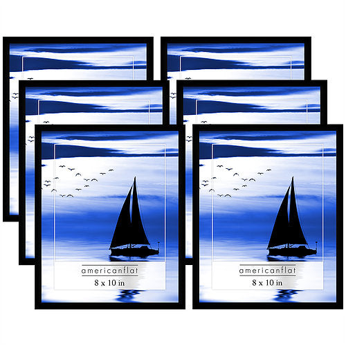 6 Pack - 8x10 Black Picture Frames with Glass Fronts