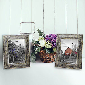 2 Pack - 4x6 Tan Rustic Picture Frames - Built-In Easels - Wall Display - Tabletop Display