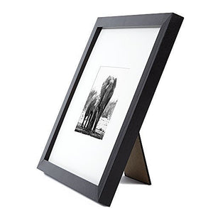 8x8 Black Picture Frame - Display Pictures 4x4 with Mat - Display Pictures 8x8 without Mat - Wall Display - Tabletop Display