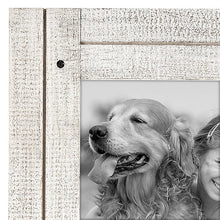 Load image into Gallery viewer, 5x7 Aspen White Collage Distressed Wood Frame - Made to Display Two 5x7 Photos - Ready To Hang or Stand With Built-In Easel