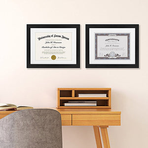 2 Pack - 11x14 Black Document Frames - Display Documents 8.5x11 with Mats - Display Documents 11x14 without Mats