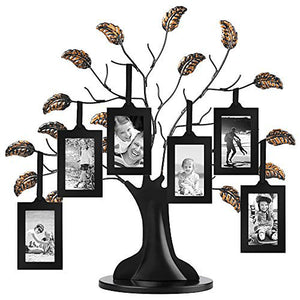 "Bronze Family Tree Frame with 6 Hanging Picture Frames Each Sized 2""x3"" with Adjustable Ribbon Tassels"
