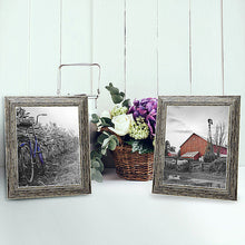 Load image into Gallery viewer, 2 Pack - 8x10 Tan Rustic Picture Frames - Built-In Easels - Wall Display - Tabletop Display