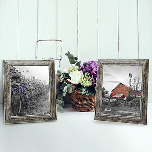 2 Pack - 8x10 Tan Rustic Picture Frames - Built-In Easels - Wall Display - Tabletop Display