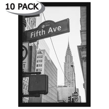 Load image into Gallery viewer, 10 Pack - 13x19 Black Poster Frames - Display Vertically on a Wall - Display Horizontally on a Wall - Plexiglass Front