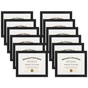 12 Pack - 11x14 Document Frames - Made for Documents Sized 8.5x11 with Mats and 11x14 Without Mats - Black