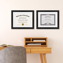 Load image into Gallery viewer, 12 Pack - 11x14 Document Frames - Made for Documents Sized 8.5x11 with Mats and 11x14 Without Mats - Black