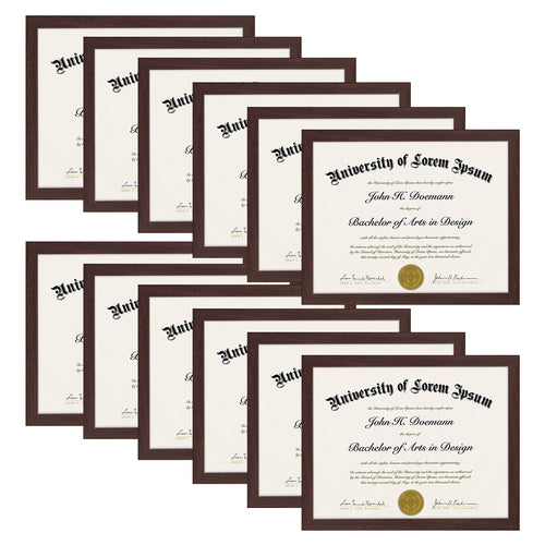 12 Pack - 8.5x11 Document Frames - Display Certificates 8.5x11 Inches, Mahogany Brown - Documents, Certificates, Diplomas
