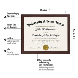 Mahogany Document Frame - Made to Display Certificates 8.5x11, Classic Style, Mahogany Brown - Document Frames, Certificate Frames, Diploma Frames