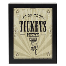"Load image into Gallery viewer, 7x9 Inch ""Drop Your Tickets Here"" Shadow Box Frame, Black"
