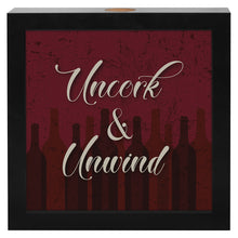"Load image into Gallery viewer, 8x8 Inch ""Uncork & Unwind"" Shadow Box Frame, Wine Lovers Gift"