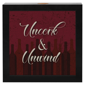 "8x8 Inch ""Uncork & Unwind"" Shadow Box Frame, Wine Lovers Gift"