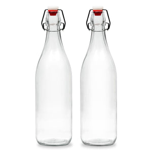 Americanflat 30oz (900ml) Glass Bottle - 2 Pack - Home Brewing Bottles with Easy to Open & Close Seals - Swing Top Bottles with Airtight Lids for Oil, Vinegar, Beverages, Liquor, Beer, Water, Kombucha