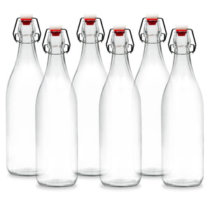 Americanflat 30oz (900ml) Glass Bottle - 6 Pack - Home Brewing Bottles with Easy to Open & Close Seals - Swing Top Bottles with Airtight Lids for Oil, Vinegar, Beverages, Liquor, Beer, Water, Kombucha