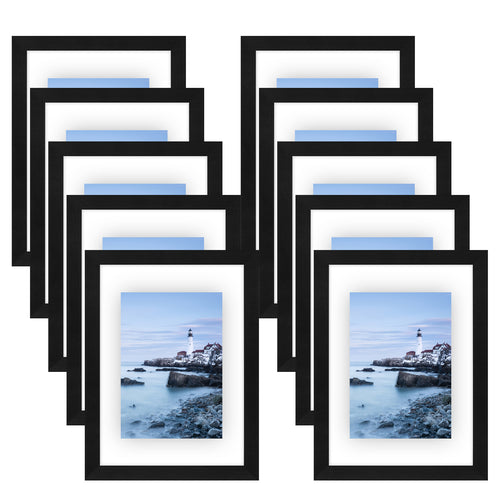10 Pack - 8x10 Black Floating Frames - Modern Picture Frames Designed to Display Floating Photographs
