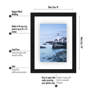 8x10 Floating Frame - Modern Picture Frame Designed to Display a Floating Photograph, Black