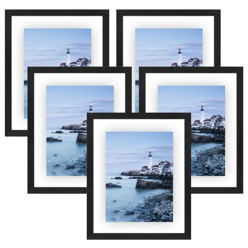 5 Pack - 11x14 Floating Frames - Modern Pictures Frame Designed to Display Floating Photographs, Black