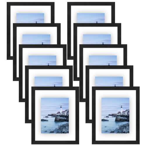 10 Pack - 8.5x11 Floating Document Frames - Modern Picture Frames Designed to Display Floating Photographs, Black
