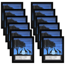 Load image into Gallery viewer, 12 Pack - 8x10 Picture Frames - Display Pictures 8x10 Inches - Easel Backs - Built-in Hangers - Plexiglass Fronts
