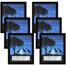 Load image into Gallery viewer, 6 Pack - 8x10 Picture Frames - Display Pictures 8x10 Inches - Easel Backs - Built-in Hangers - Plexiglass Fronts