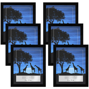 6 Pack - 8x10 Picture Frames - Display Pictures 8x10 Inches - Easel Backs - Built-in Hangers - Plexiglass Fronts