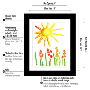 Kids Artwork Picture Frame with Shatter-Resistant Glass - Display Artworks Sized 8.5x11 with Mat and 10x12.5 without Mat