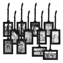 "Load image into Gallery viewer, Bronze Family Tree Frame with 12 Hanging Picture Frames Each Sized 2""x3"" with Adjustable Ribbon Tassels"