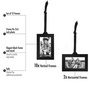 "Bronze Family Tree Frame with 12 Hanging Picture Frames Each Sized 2""x3"" with Adjustable Ribbon Tassels"