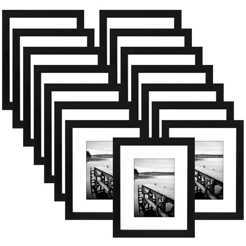 15 Pack - 8x10 Black Picture Frames - Display Pictures 5x7 with Mats or 8x10 without Mats