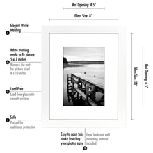 Load image into Gallery viewer, 8x10 White Picture Frame - Display Pictures 5x7 with Mat or 8x10 without Mat - Highest Quality Materials - Wall Mounting Materials Included