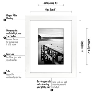 8x10 White Picture Frame - Display Pictures 5x7 with Mat or 8x10 without Mat - Highest Quality Materials - Wall Mounting Materials Included