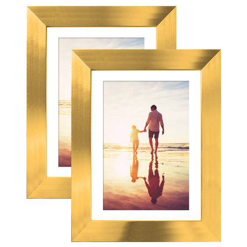 2 Pack - Gold Tabletop Frames - Display Photos 4x6 with Mats and 5x7 without Mats - Glass Fronts - Easel Stands