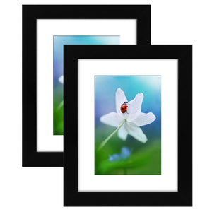 2 Pack - 6x8 Tabletop Frames - Display Pictures 4x6 with Mat - Display Pictures 6x8 Without Mat - Glass Fronts, Easel Stands, Ready to Display on Tabletop