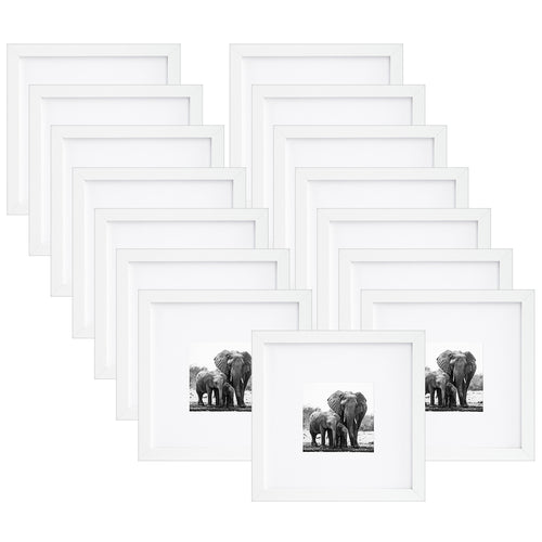 15 Pack - 8x8 Picture Frames - Display Pictures 4x4 with Mats - Display Pictures 8x8 Without Mats, White