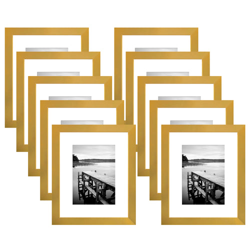 10 Pack - 8x10 Gold Picture Frames - Display Pictures 5x7 with Mats - Display Pictures 8x10 Without Mats - Wall Mounting Material Included - Easel Back Included