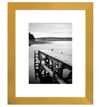 Load image into Gallery viewer, 8x10 Gold Picture Frame - Display Pictures 5x7 with Mat - Display Pictures 8x10 without Mat - Wall Mounting Material Included - Easel Back Included