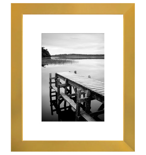 8x10 Gold Picture Frame - Display Pictures 5x7 with Mat - Display Pictures 8x10 without Mat - Wall Mounting Material Included - Easel Back Included