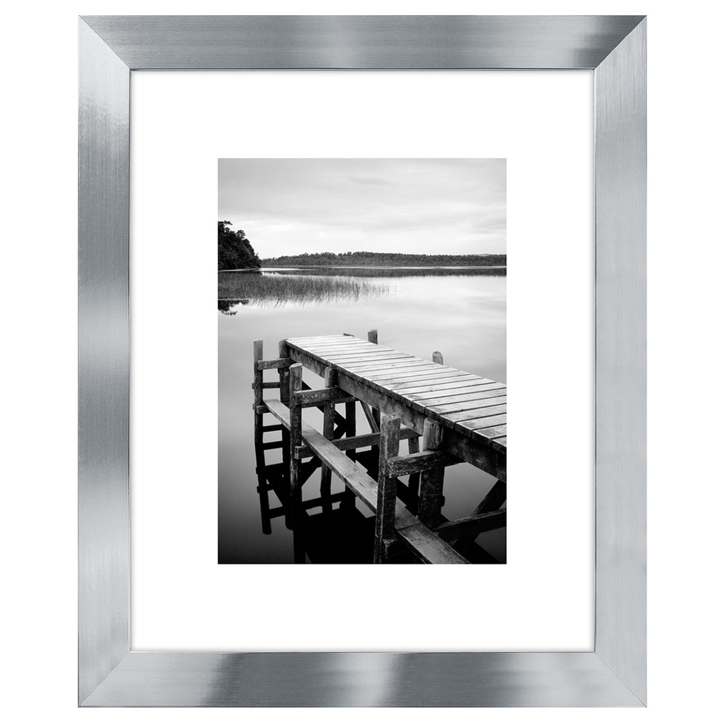 8x10 Silver Picture Frame - Display Pictures 5x7 with Mat - Display Pictures 8x10 without Mat - Glass Front - Standing Hardware Included
