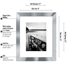 Load image into Gallery viewer, 8x10 Silver Picture Frame - Display Pictures 5x7 with Mat - Display Pictures 8x10 without Mat - Glass Front - Standing Hardware Included