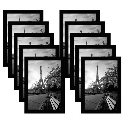 10 Pack - 8x12 Black Picture Frames - Shatter-Resistant Glass Included - Wall Display - Tabletop Display - Hanging Hardware - Easel Backs Included