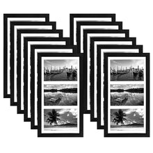 Load image into Gallery viewer, 12 Pack - 8x16 Collage Picture Frames - Display Three Photos Sized 5x7 on Your Wall - Perfect As Family Collage Picture Frames