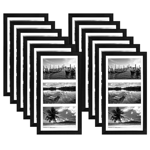 12 Pack - 8x16 Collage Picture Frames - Display Three Photos Sized 5x7 on Your Wall - Perfect As Family Collage Picture Frames