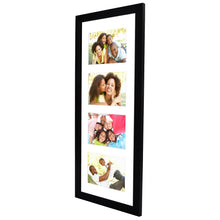 Load image into Gallery viewer, 8x20 Black Collage Picture Frame with 4 Openings - Made for 4x6 Inch Photos - Perfect As a Family Collage Picture Frame or for Vacation Memories