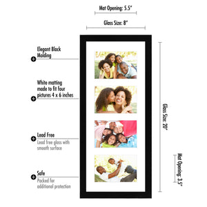 8x20 Black Collage Picture Frame with 4 Openings - Made for 4x6 Inch Photos - Perfect As a Family Collage Picture Frame or for Vacation Memories