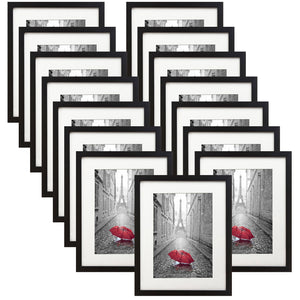 15 Pack - 11x13 Black Picture Frames - Display Pictures 8x10 Inches with Mats or 11x13 Inches Without Mats