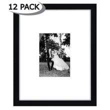 Load image into Gallery viewer, 12 Pack - 11x14 Black Picture Frames - Display Pictures 5x7 with Mats - Display Pictures 11x14 Without Mats - Protective Glass Covering Fronts