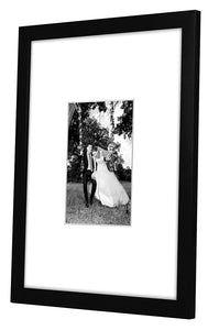 12 Pack - 11x14 Black Picture Frames - Display Pictures 5x7 with Mats - Display Pictures 11x14 Without Mats - Protective Glass Covering Fronts