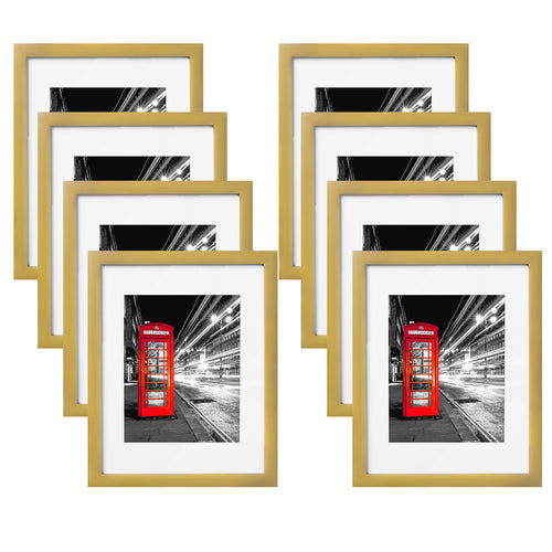 8 Pack - 11x14 Gold Picture Frames - Made to Display Pictures 8x10 with Mats or 11x14 Without Mats - Wall Mounting Material Included