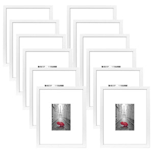 12 Pack - 11x14 White Picture Frames - Display Pictures 5x7 with Mats - Display Pictures 11x14 Without Mats - White Mats - Glass Fronts