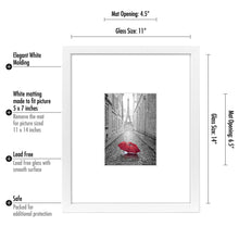 Load image into Gallery viewer, 12 Pack - 11x14 White Picture Frames - Display Pictures 5x7 with Mats - Display Pictures 11x14 Without Mats - White Mats - Glass Fronts
